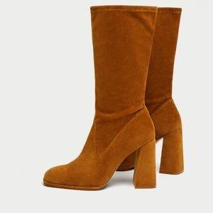 Zara Corduroy Camel Boots